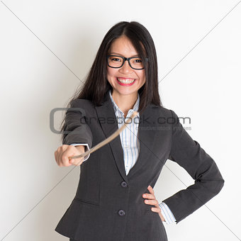 Asian female teacher smiling