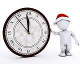 3D Santa Morph Man with clock before midnight