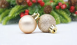 Christmas bauble background with snow