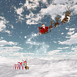 Snowy landscape with santa and his reindeers