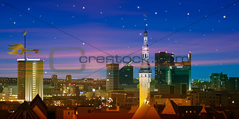 abstract nature background with sunset and cityscape