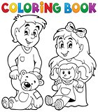 Coloring book children with toys 1