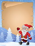 Parchment with walking Santa Claus