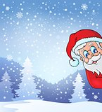 Theme with lurking Santa Claus