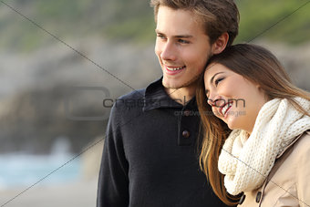Affectionate couple looking away on the beach
