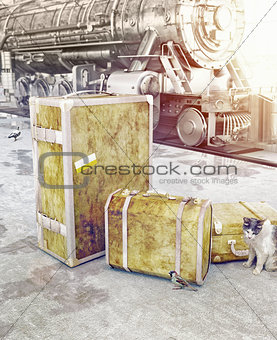 old vintage luggage