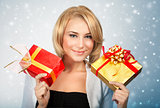 Pretty woman with Christmas gifts