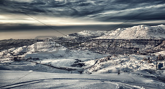 Beautiful winter mountains landscape