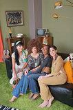 Hippies Sitting on Sofa