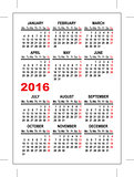 Pocket calendar 2016 template