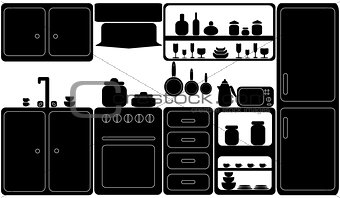 Kitchen in black-and-white