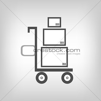 Cart with boxes as delivery symbol