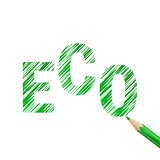 Eco text drawn with green pencil