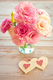 Love Vintage Background - Beautiful Flowers and Two Handmade Hea