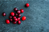 Closeup on lingonberries on stone substrate