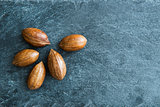 Closeup on pecans on stone substrate