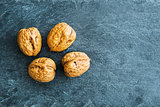 Closeup on walnut on stone substrate
