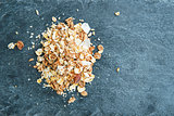 Closeup on muesli on stone substrate