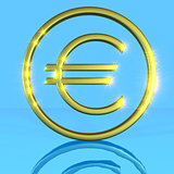 Golden shiny metallic euro symbol