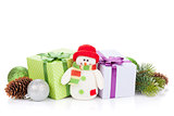 Christmas gift boxes, decor and snowman toy