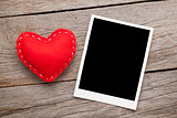 Photo frame and valentines toy heart