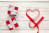 Valentines day heart shaped ribbon and gift boxes