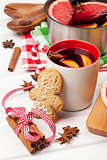 Christmas mulled wine and gingerbread man