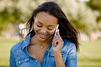 Beautiful woman talking at phone