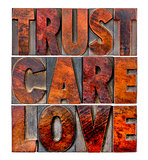 trust, care, love in wood type