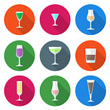 flat solid colors alcohol glasses set
