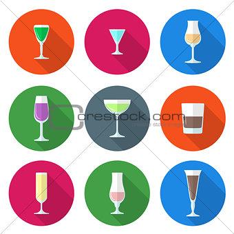 flat solid colors alcohol glasses set
