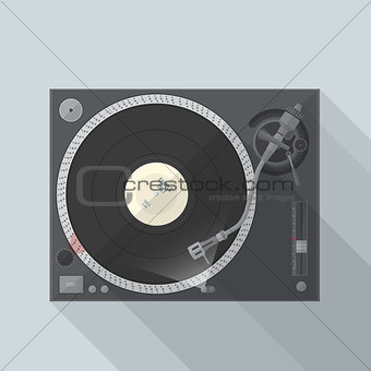 flat style turntable with vinyl record in work