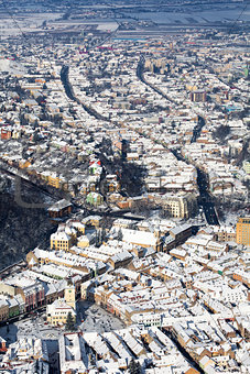 Brasov, aerial old city view