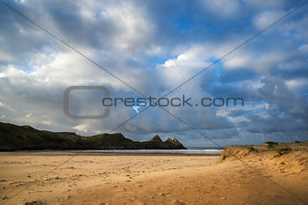 Beautiful Summer sunrise landscape over yellow sandy beach