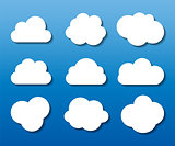 Set of Cloud Shaped Frames Vector Illustration