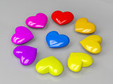 Colorful shiny hearts