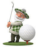 3d little man golfer