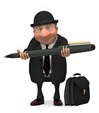 The businessman with the writing handle