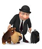 3d businessman with a dog