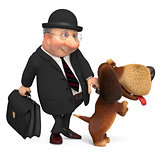 3d businessman with a dog