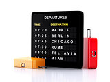 3d airport board and travel suitcases on white background
