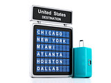 3d airport board. USA travel information on white background