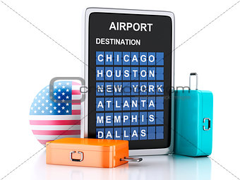 3d united states airport board and travel suitcases on white ba