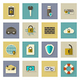 Cyber defense flat icons set with shadows