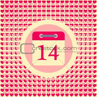 Calendar date February 14 Valentine's day