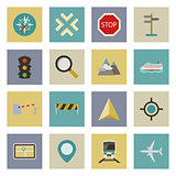 GPS and navigation flat icons set