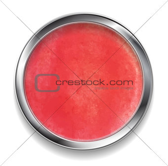 Bright red watercolor circle design with metal frame