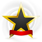 Gold star and red ribbon. Winner design