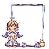 Vector illustration of cute angel with frame