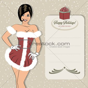 beautiful woman dressed as Santa Claus